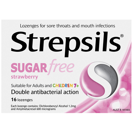 Strepsils Sugarfree Strawberry Lozenges 16 Pack