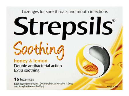 Strepsils Throat Lozenges Soothing Honey & Lemon 16 Pack