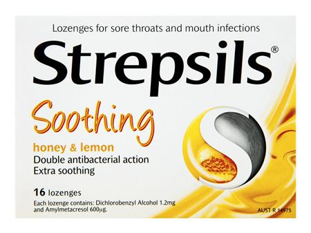 Strepsils Throat Lozenges Soothing Honey & Lemon 16 Pack