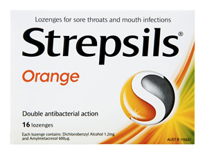 Strepsils Throat Lozenges Soothing Orange 16 Pack