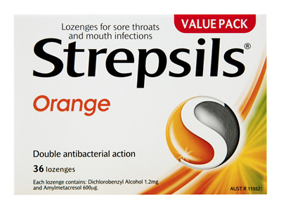 Strepsils Throat Lozenges Soothing Orange 36 Pack