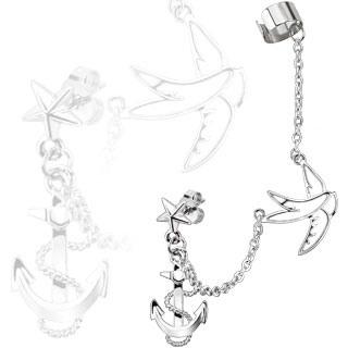 Stud Chain Earring w/ Swallow & Anchor Dangles w/ End Clip