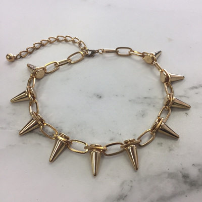 Studded Spike Necklace - Gold