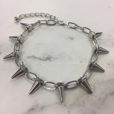 Studded Spike Necklace - Silver