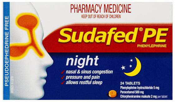 Sudafed PE Phenylephrine Night 24 Tablets