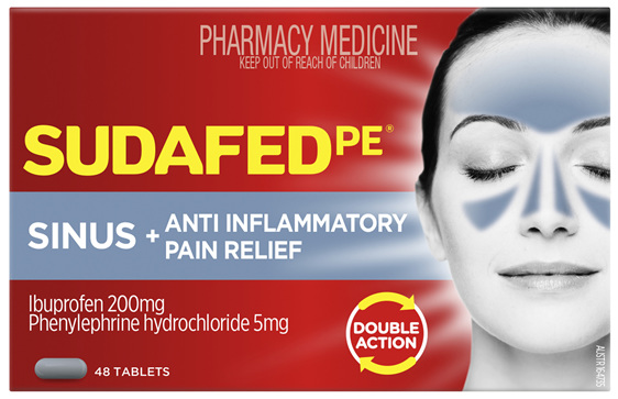 Sudafed Pe Sinus + Anti Inflammatory Pain Relief 48 Tablets