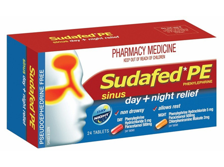 Sudafed Pe Sinus  Day & Night Relief 24 Tabs