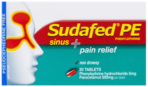 Sudafed PE Sinus + Pain Relief 20 Tablets