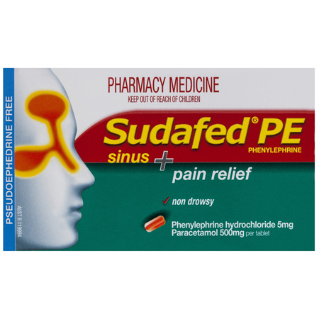 Sudafed PE Sinus + Pain Relief 24 Tablets
