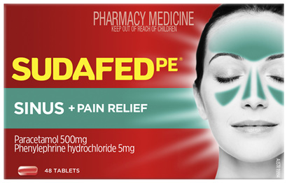 Sudafed PE Sinus + Pain Relief 48 Tablets