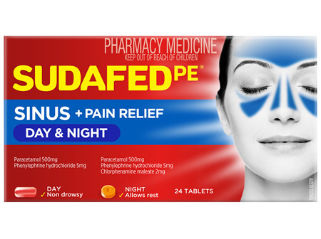 Sudafed PE Sinus + Pain Relief Day & Night 24 Tablets