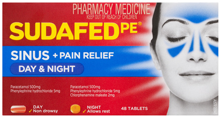 Sudafed PE Sinus + Pain Relief Day & Night 48 Tablets