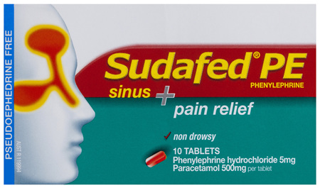 Sudafed PE Sinus + Pain Relief Tablets 10 New Pack