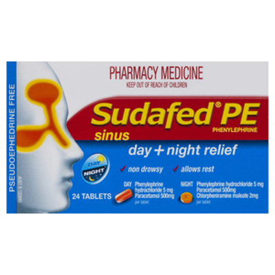 Sudafed Pe Sinus Treatment Day/Night 24