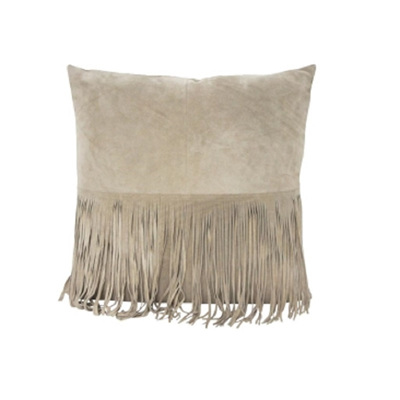 Suede Leather Cushion With Fringe - Light Beige