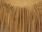 Suede Leather Pouf With Fringe - Caramel 60x60x20cmh
