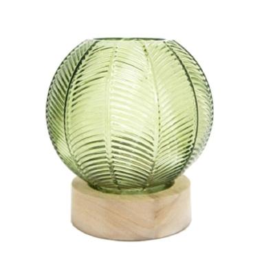 Sunee Leaf Hurricane Lantern Wooden Base - Green
