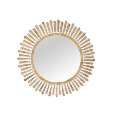 Sunray Wooden Mirror - White Distress - 120cmd