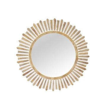 Sunray Wooden Mirror - White Distress - 120cmd