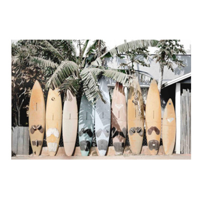 Surf Boards Tempered Glass Print - Silver Frame