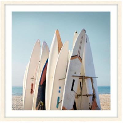 Surfboard Rack Glass Framed Print - 80x80cm