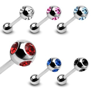 Surgical Steel Barbell w/ 4-Gem Set Ball