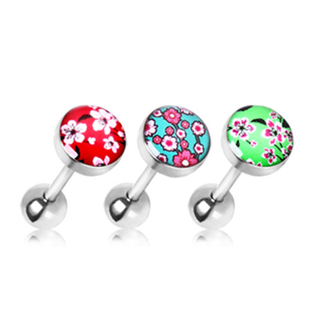 Surgical Steel Cherry Blossom Flat Barbell