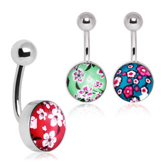 Surgical Steel Cherry Blossom Navel Ring