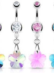 Surgical Steel Crystal Ray Prism Flower Navel Bar