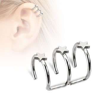 Surgical Steel Fake Cartilage 'Clip-On' Triple Closure Ring with Stars