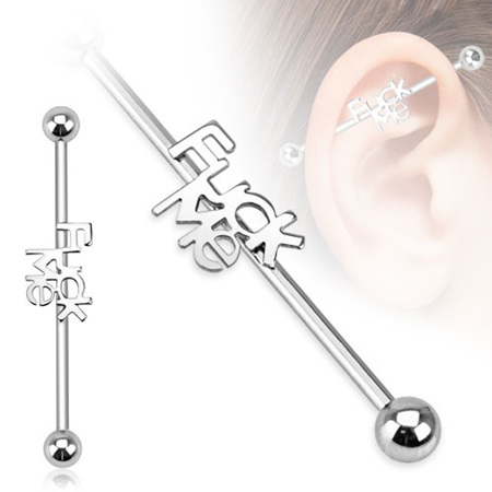 "Surgical Steel ""Fuck Me"" Industrial Barbell"