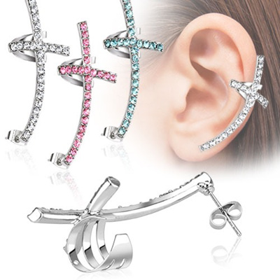 Surgical Steel Gem Paved Ear Cross Cuff
