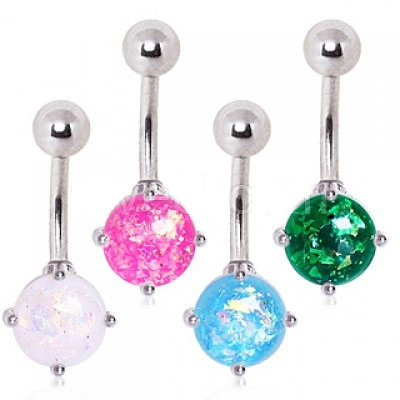Surgical Steel Navel Ring with Prong Set Synthetic Opal