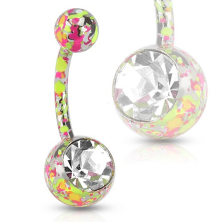 Surgical Steel Navel w/ Paint Splatter Pink