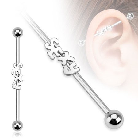 "Surgical Steel ""Sexy"" Industrial Barbell"