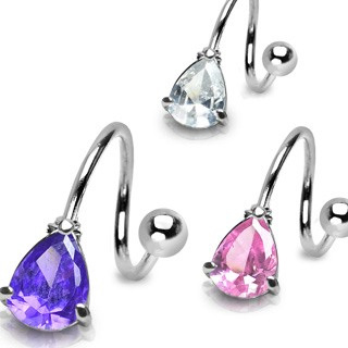 Surgical Steel Twist with Prong Set Tear Drop CZ
