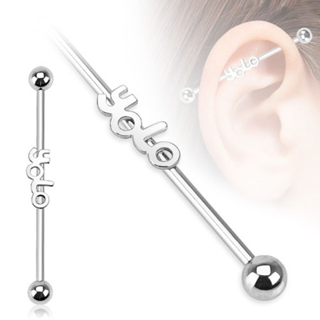 "Surgical Steel ""YOLO"" Industrial Barbell"