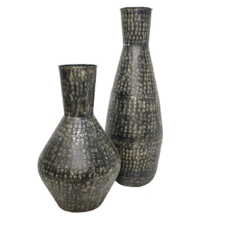 Surya Metal Vase - Black Wash 84cm