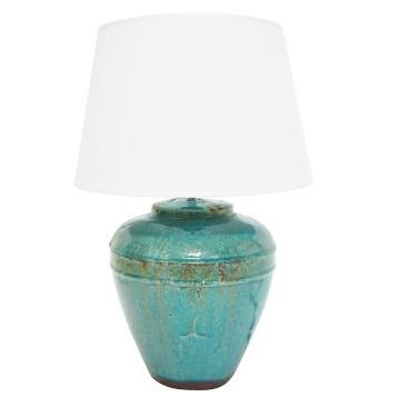 Suvia Ceramic Lamp - Turquoise Glaze - 58cmh