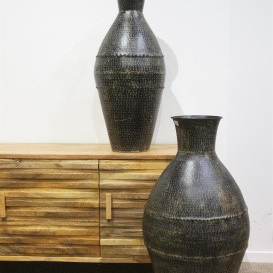 Suvvy Metal Vase - Black Wash - 89cmh