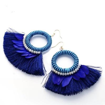 Swing Fringe Earrings - Peacock