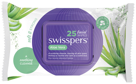 Swisspers Aloe  Facial Wipes 25 pack