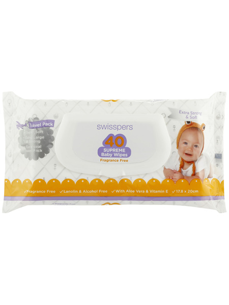 Swisspers Baby Wipes 40 Pack