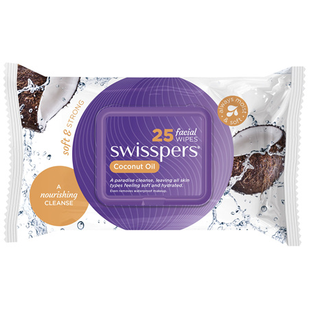 Swisspers Coconut Oil Facial Wipes 25 pack