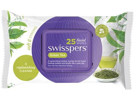 Swisspers Green Tea Facial Wipes 25 pack