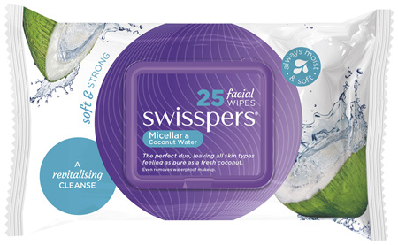 Swisspers Micellar and Coconut Water Facial Wipes 25 pack
