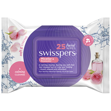 Swisspers Micellar and Rosewater Facial Wipes 25 pack