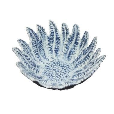 Taine Leaf Bowl - Blue W Whitewash Large