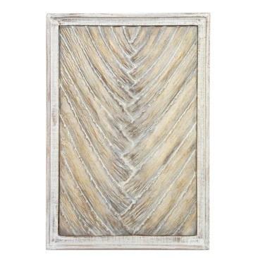 Takoda Flax Metal Wall Plaque W Wooden Frame 48x68cm