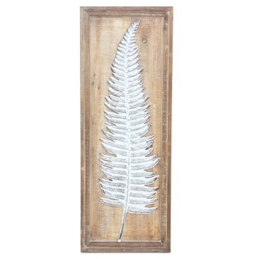 Talal Fern Metal On Wooden Backing - 32.5x87.5cm